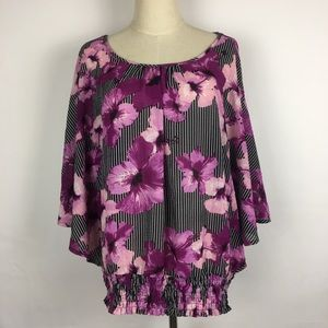 Investments Top Batwing Dolman Pink Black Floral